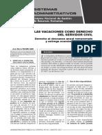 Las Vacaciones Como Derecho Del Servidor Civil Autor José María Pacori Cari