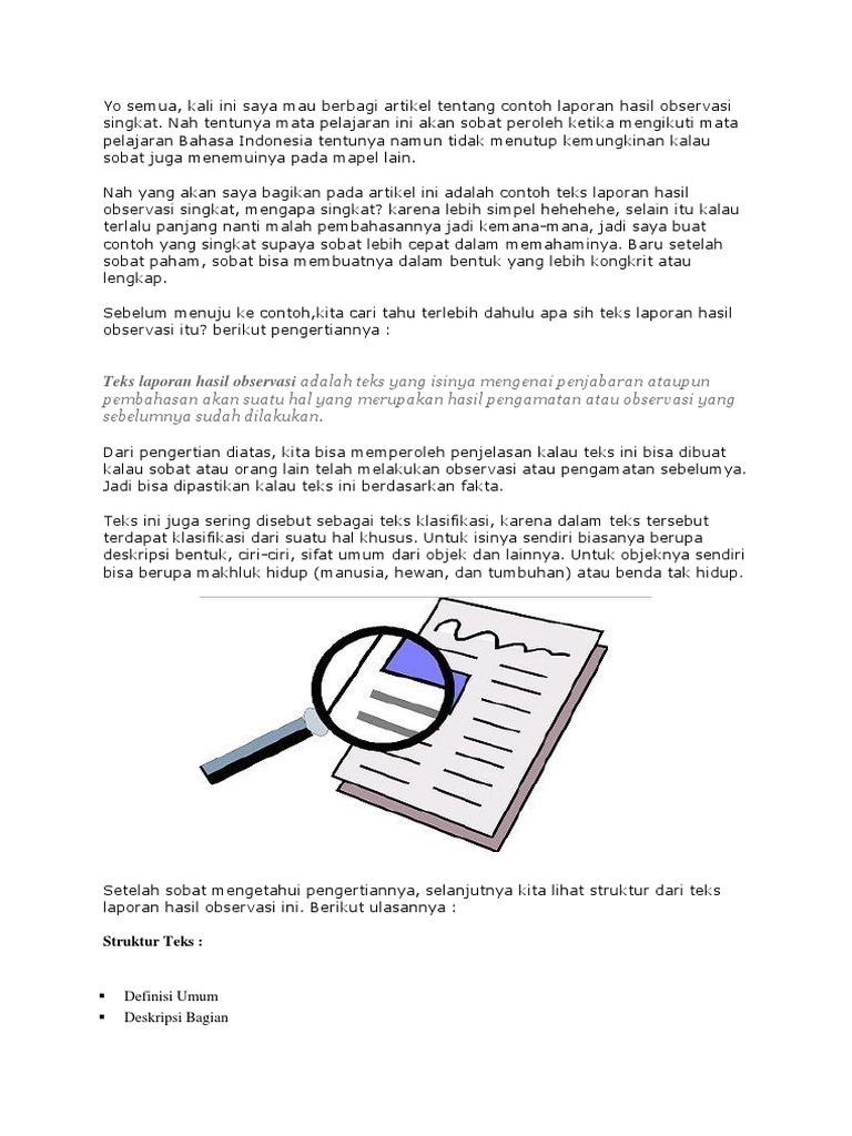 Contoh Teks Laporan Hasil Observasi Tentang Tumbuhan Kumpulan Contoh Laporan