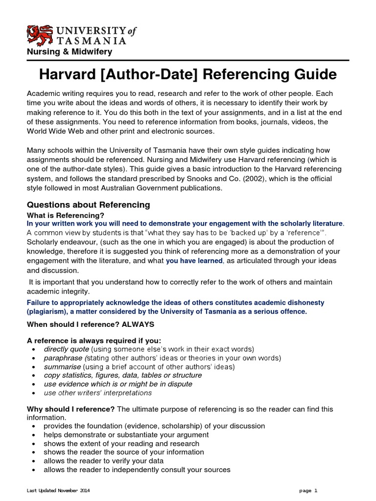 UTAS Harvard Referencing Guide | Citation | Systematic Review