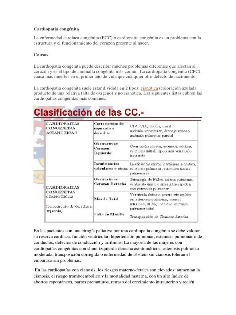 Cardiopatias Congenitas Cianoticas Y Cianticas Pdf