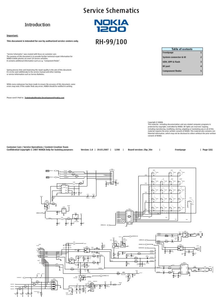 nokia 1200 rh 99 rh 100 service schematics v1 0 pdf rh scribd com