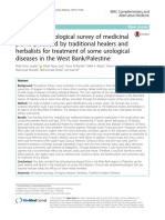 Ethnopharmacological Survey of Medicinal Plants Practiced by Traditional Healers and Herbalists for Treatment of Some Urological Diseases