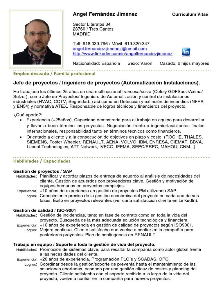 Perfecto Planificador De Mantenimiento Curriculum Vitae Formato ...