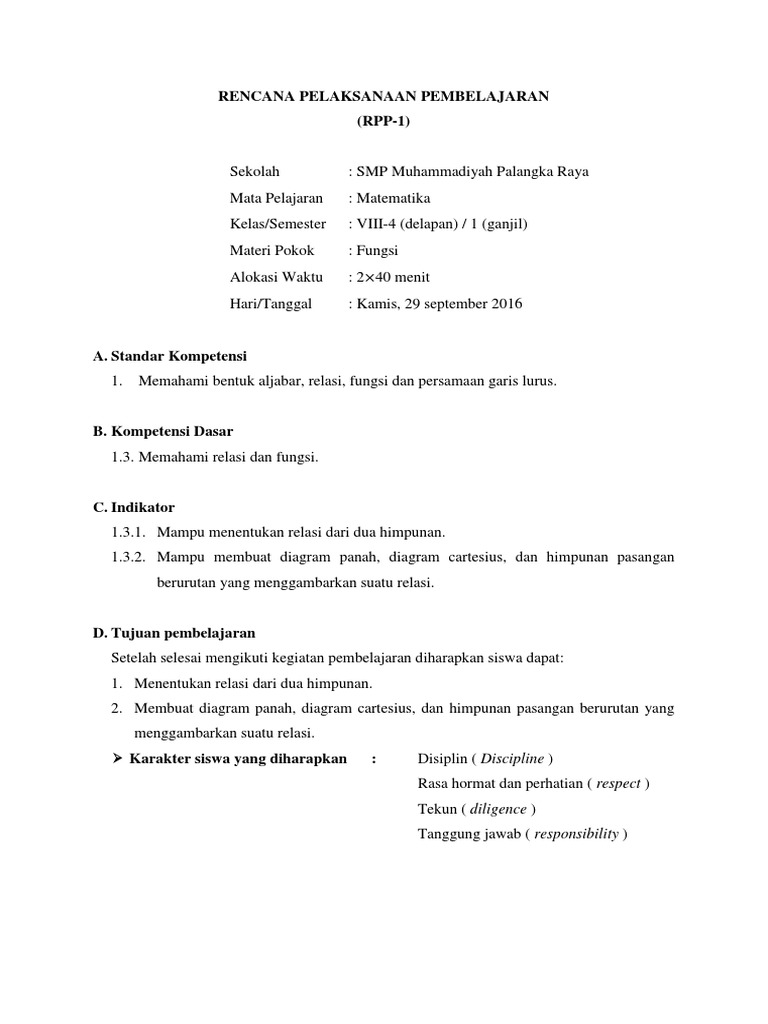Rpp ktsp kelas viii semester 1 materi relasi dan fungsi ccuart Gallery