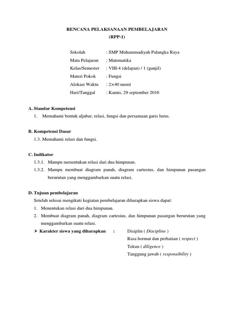Rpp ktsp kelas viii semester 1 materi relasi dan fungsi ccuart Images