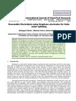 Renewable Electrolysis using Solar Water Splitting