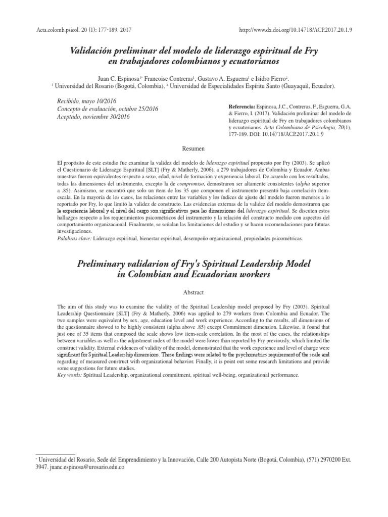 Validación Preliminar Del Modelo de Liderazgo Espiritual de Fry