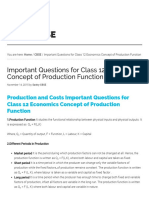 Important Questions for Class 12 Economics Concept of Production Function