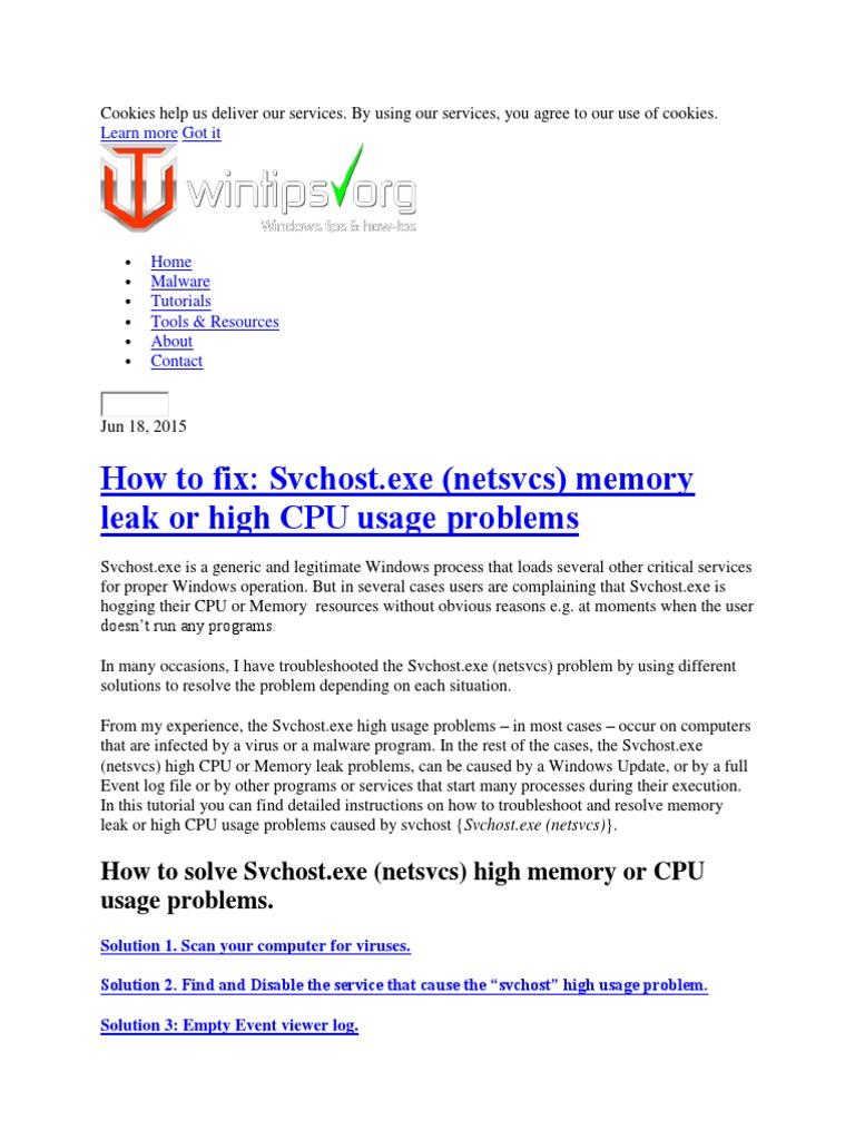how to stop svchost.exe (netsvcs)