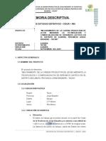 1.- Memoria Descriptiva Infraestructura LACTEOS