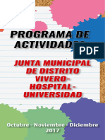 Programa Actividades JMD Vivero, Hospital, Universidad - 4º Trimestre 2017