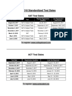 sat act 2017-2018 test dates