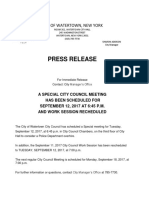 Special Watertown City Council Meeting Scheduled Sept 12, 2017