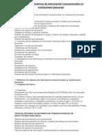 Definición de Sistemas de Información Transaccionales en Instituciones Bancarias