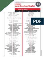 Differences British English American English