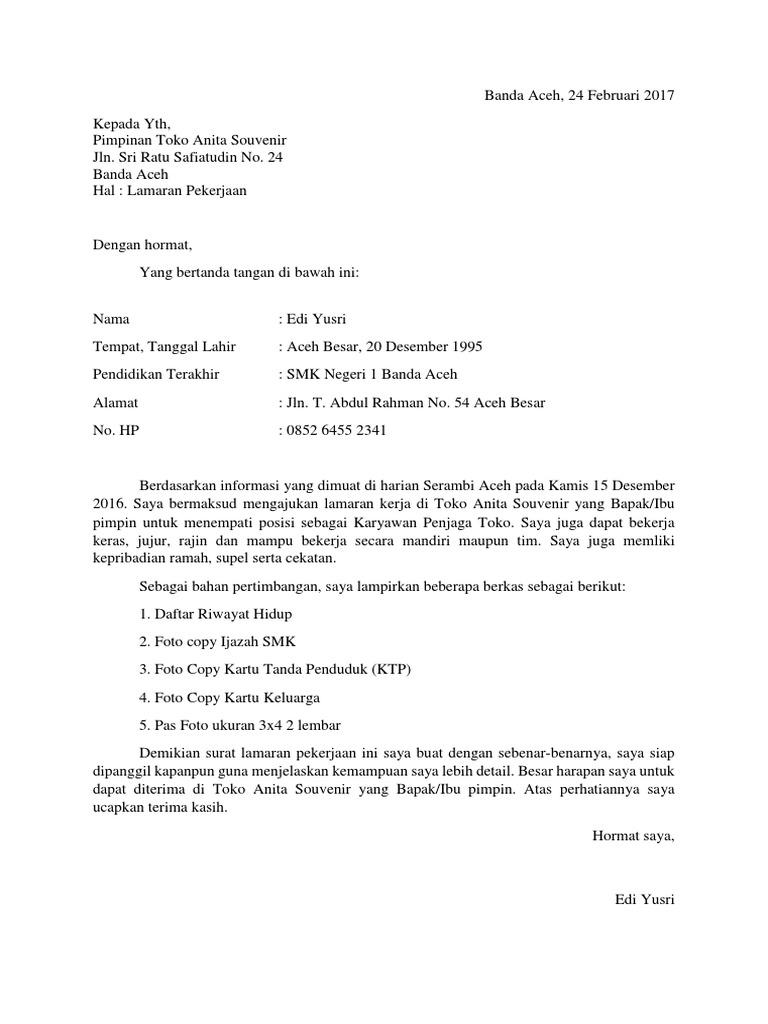 48 Contoh Surat Lamaran Kerja Ke Toko Emas