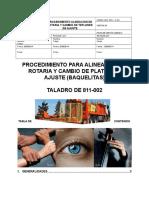 Procedimiento Para Alineacion de Rotaria y Cambio de Teflones de Ajuste