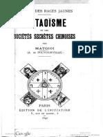 1897 Matgioi Le Taoisme Et Societes Secretes Chinoises