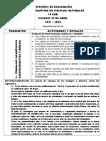 Criterios de Evaluacion 13 de Abril 2017-2018