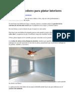 Selección de Colores Para Pintar Interiores