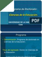 Programa Doctorado C. de La Educación- Ecuador- 2017