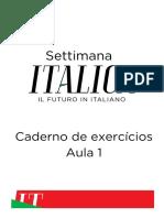 Settimana Italica - Caderno de Exercícios Aula 1