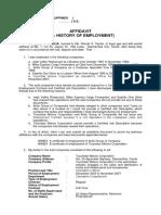Affidavit-history of Employment