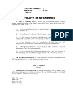 affidavit of no earnings