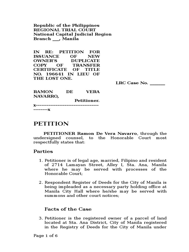 Petition for issuance of new owners duplicate copy of title in petition for issuance of new owners duplicate copy of title in re doc navarro deed land lot xflitez Gallery