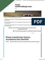 Power Transformer Factory Acceptance Test Checklist - Basic Electrical Design