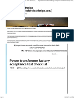 Power Transformer Factory Acceptance Test Checklist - Basic Electrical Design
