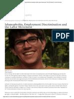 Islamophobia, Employment Discrimination and the Labor Movement - The ILR School Cornell University