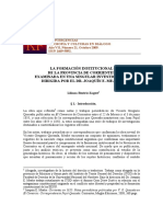 La Formación Institucional de La Provincia de Corrientes