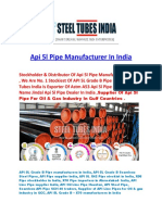 API 5l Pipe Manufacturer in India