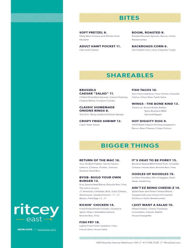 Ritcey East Food and Beverage Menu | Salad | Western Cuisine