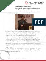 NP91-2017 | Contraloría General inicia capacitación a gestores públicos para prevenir riesgos en la Reconstrucción con Cambios