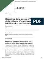 Mémoires de La Guerre d'Algérie _ de La Collecte d'Interviews à La Numérisation Des Cassettes