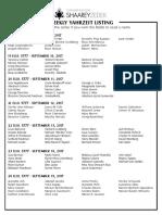 September 9, 2017 Yahrzeit List