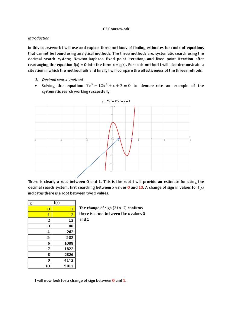 newton raphson method example coursework