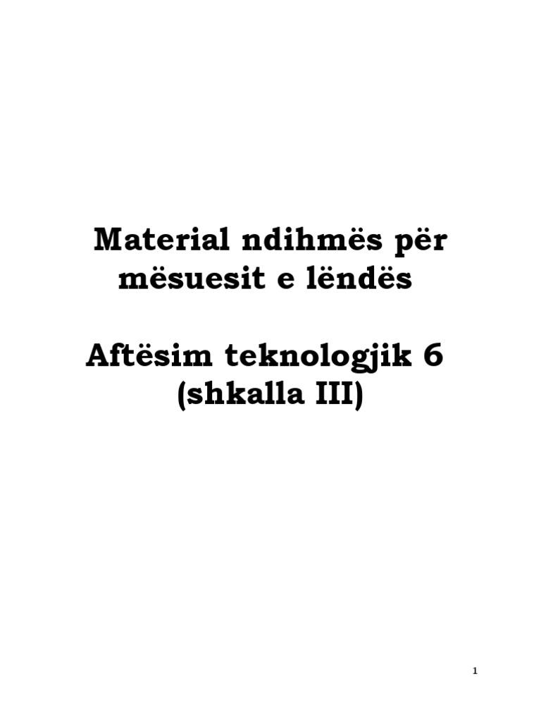 Aftesim Teknologjik 6 Liber Mesuesi