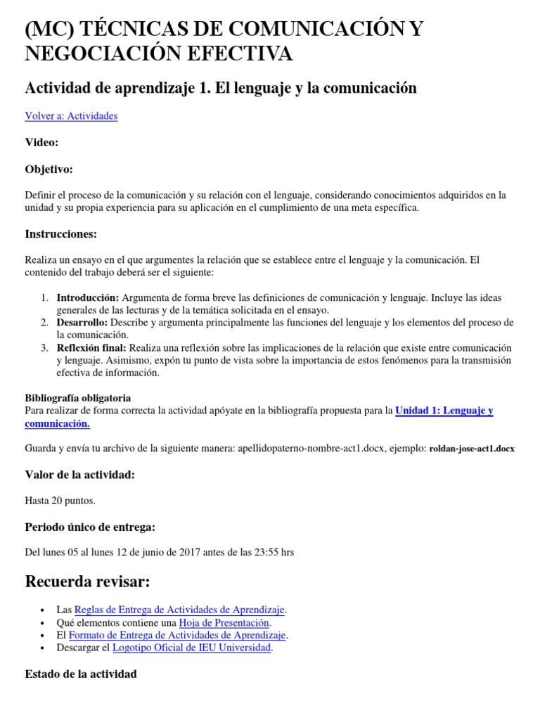 c341067f8f Actividad de Aprendizaje 1. El Lenguaje y La Comunicación | Ensayos |  Comunicación