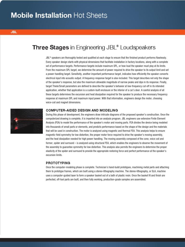 JBL INF Engineering Hot Sheet | Loudspeaker | Audio Electronics