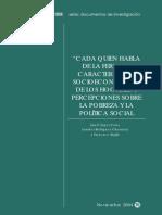 """""""Cada quien habla de la feria…"""" características socioeconómicas de los hogares y percepciones sobre la pobreza y la política social"""