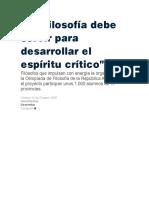 La Filosofía debe servir para desarrollar el espíritu crítico