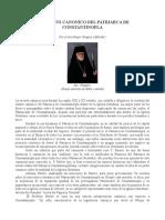 El Estatus Canonico Del Patriarca de Constantinopla