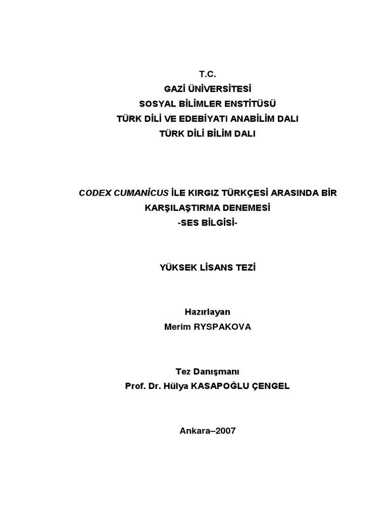 Codex Cumanicus Ile Kirgiz Turkcesi Arasinda Bir Karsilastirma Denemesi
