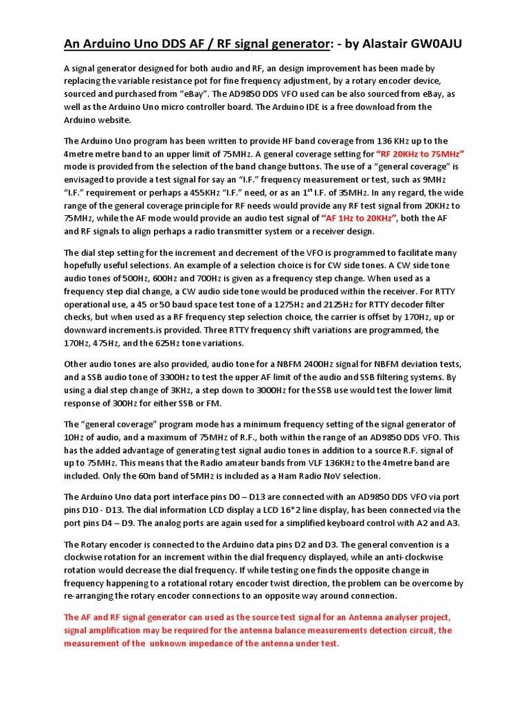 An Arduino Uno DDS AF RF signal generator pdf pdf | Arduino
