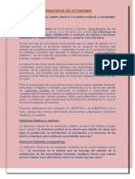 Definicion Campo Objeto y Clasificacion de La Economiaa
