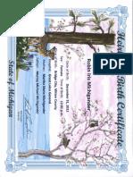 Example Heirloom Certificate