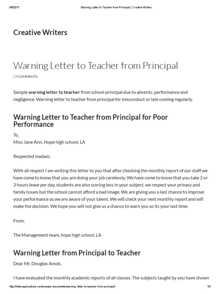 Warning letter to teacher from principal creative writers warning letter to teacher from principal creative writers creative writing teachers pronofoot35fo Choice Image